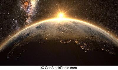 napkelte, kilátás, közül, földdel feltölt