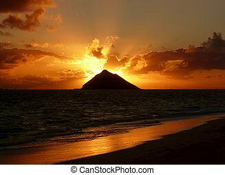 napkelte, lanikai, tengerpart