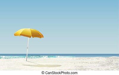 /, napkelte, táj, vektor, gyakorlatias, napnyugta, sárga, napernyő, ábra, tengerpart