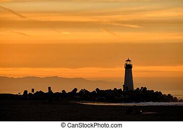 napkelte, (walton, szent, hullámtörő gát, lighthouse), fény,...