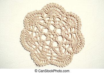 Napkin cream colored, related crochet of coarse  cotton yarn