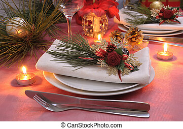 Napkin decorated for the Christmas and New Year's table