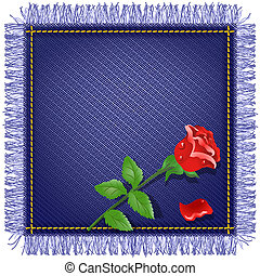 Napkin from jeans fabric and red rose