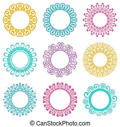 Napkin lace design elements - Set of beautiful colorful...