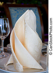Napkin on the banquet table. The Wedding Banquet