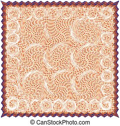 Napkin with grunge striped and swirled pattern in beige, orange, brown ,blue colors with fringe isolated on white