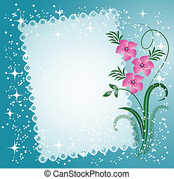 Napkin with lacy edges with flowers, stars and a place for...