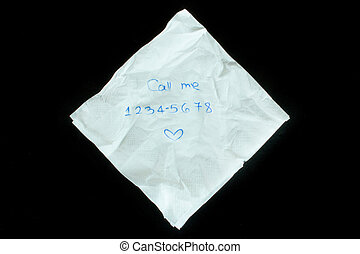 Napkin with phone number