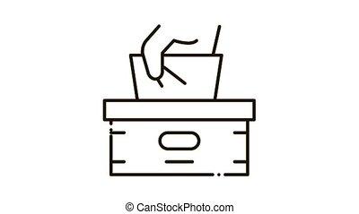 Napkins Box Hand Icon Animation. black Napkins Box Hand animated icon on white background