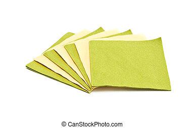 napkins., verde, amarillo