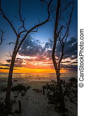 naplemente tengerpart, florida kulcs, lover's