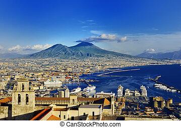 Naples and Vesuvius panoramic view, Napoli, Italy - Naples ...