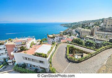 Naples bay, residential area cityscape, Naples, Italy.