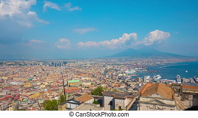Naples from a hilltop, Italy, 4k UHD timelapse
