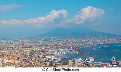 Naples from a hilltop, Italy, timelapse