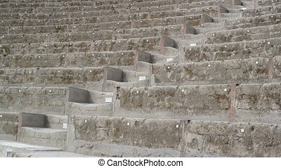 Naples Italy Pompeii Roman Amphitheater steps. Background