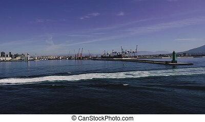 naples., lighthouse., początek, italy., port