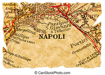 Naples or Napoli, Italy on an old torn map from 1949, isolated. Part of the old map series.