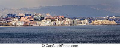 Naples panorama at sunset