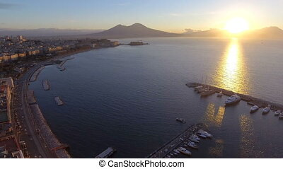 Naples skyline, port and Vesuvius volcano view, Italy -...