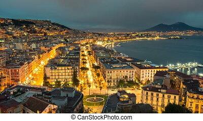 Naples skyline, port and Vesuvius volcano view, time-lapse