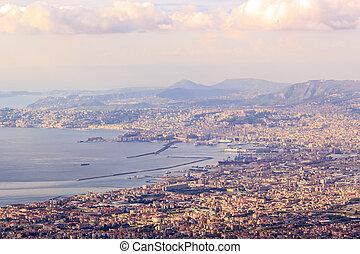 Naples view from Mount Vesuvius. Italy