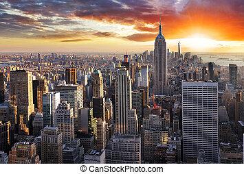 napnyugta, új, láthatár, usa., york