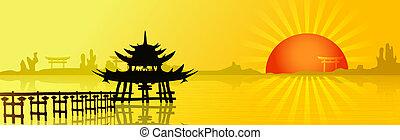 napnyugta, alatt, ázsia
