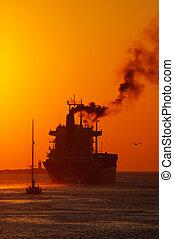 napnyugta, alatt, a, kikötő