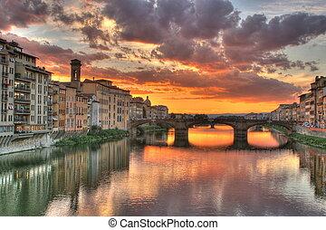 napnyugta, alatt, firenze, olaszország