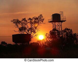 napnyugta, alatt, outback, ausztrália