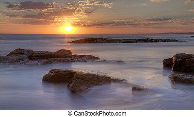 napnyugta, -ban, birubi, tengerpart, ausztrália