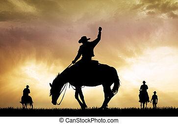 napnyugta, cowboy, árnykép, rodeó