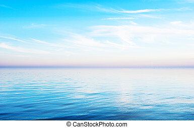 napnyugta, -, egy, csendes, tenger, táj