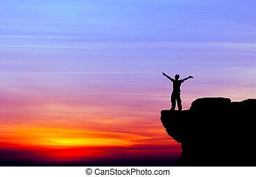 napnyugta, ember, árnykép, kő