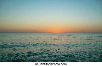 napnyugta, felett, a, tenger, -ban, a, este