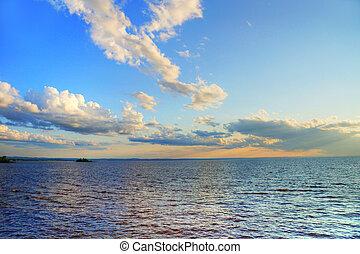 napnyugta, felett, csendes, tó