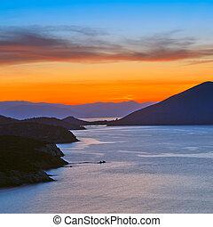 napnyugta, felett, földközi-tenger