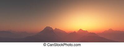 napnyugta, felett, hegyek