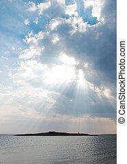 napnyugta, felett, küllők, light., sea.