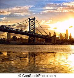 napnyugta, felett, philadelphia