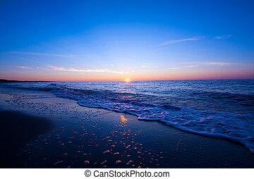 napnyugta, felett, sea.