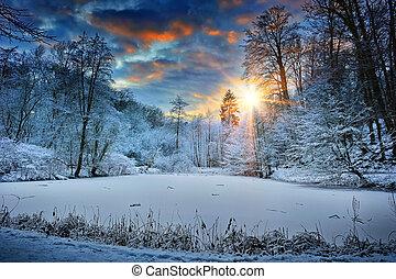napnyugta, felett, tél, erdő, tó