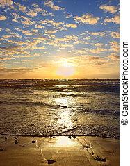 napnyugta, felett, the mediterranean tenger, izrael