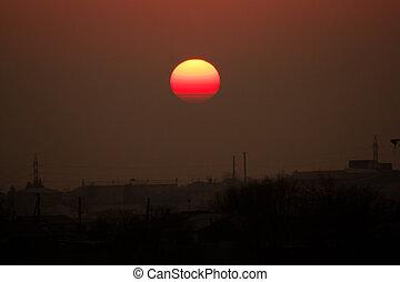 napnyugta, felett, város