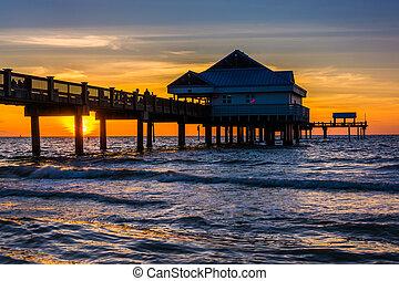napnyugta, halászat, tengerpart, öböl, móló, clearwater, ...