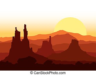napnyugta, hegy., sziklás, vektor, illustration.