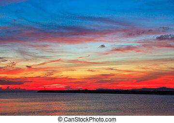 napnyugta, kék ég, és, elhomályosul, háttér