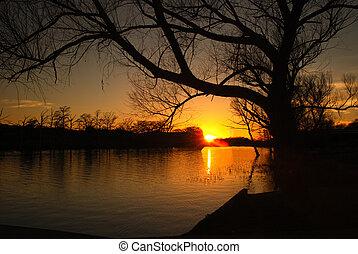 napnyugta, képben látható, a, folyó