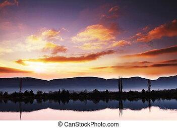 napnyugta, képben látható, a, tó